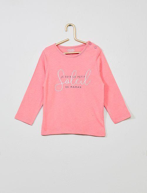 T-shirt imprimé en coton bio                                                                                                                                                                                                                                         rose/soleil Bébé fille