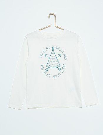T-shirt imprimé en coton                                                                                                                                         écru Garçon