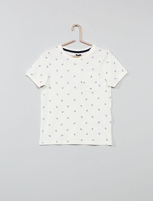 T-shirt imprimé en coton piqué                                                     blanc Garçon