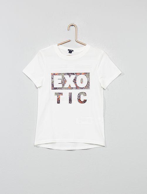 T-shirt imprimé en relief                                                                                                     blanc cassé