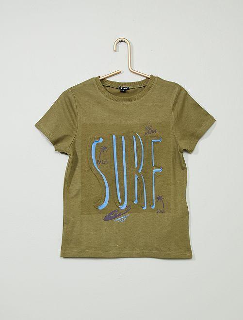 T-shirt imprimé en relief                                                                                                     kaki