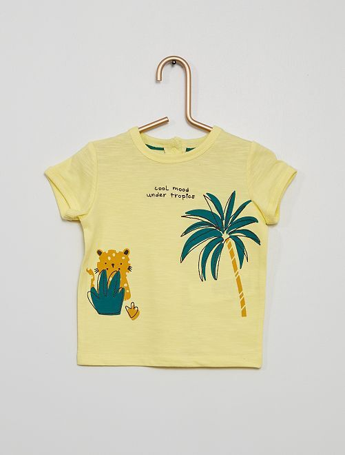 T-shirt imprimé et brodé                                                     jaune