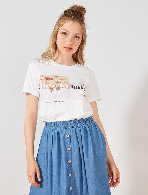 T-shirt imprimé fantaisie                                                     blanc Femme