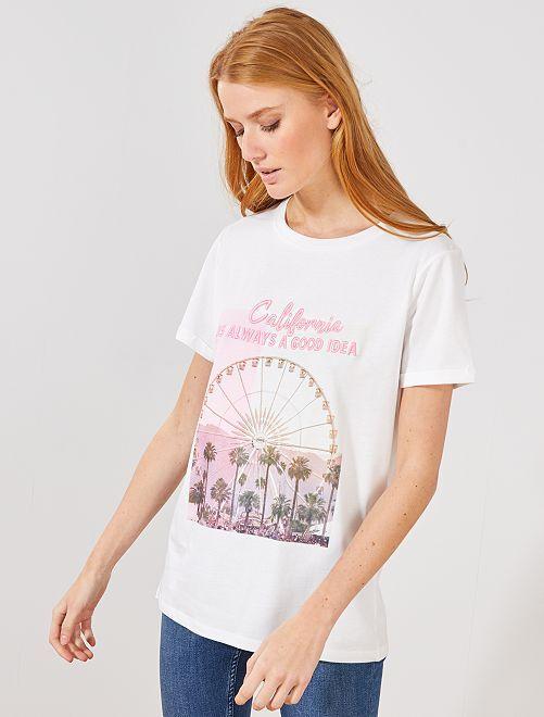 T-shirt imprimé fantaisie                             blanc 'grande roue'