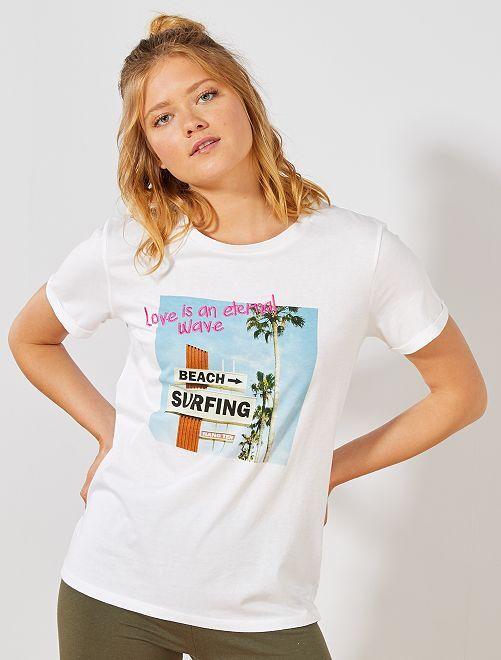 T-shirt imprimé fantaisie                                                     blanc 'surfing' Femme