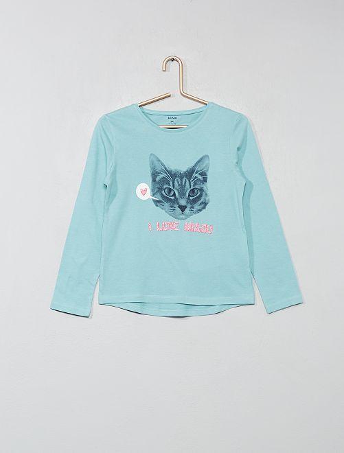 T-shirt imprimé fantaisie                                                                                                                             bleu/chat Fille
