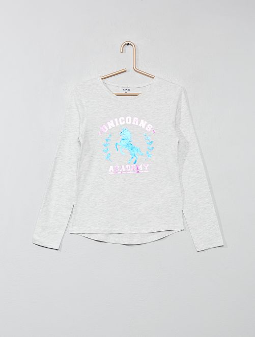 T-shirt imprimé fantaisie                                                                                         gris/licorne Fille