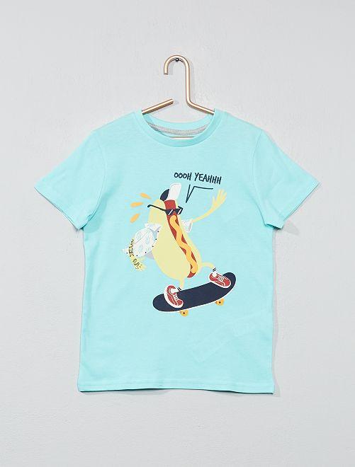 T-shirt imprimé fantaisie                                                                                                                                                                             turquoise Garçon