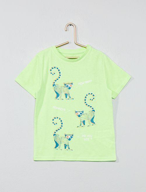 T-shirt imprimé fantaisie                                                                                                                                                                             vert fluo Garçon