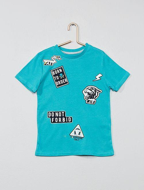 T-shirt imprimé fantaisie                                                                                                                                                                     vert stickers Garçon