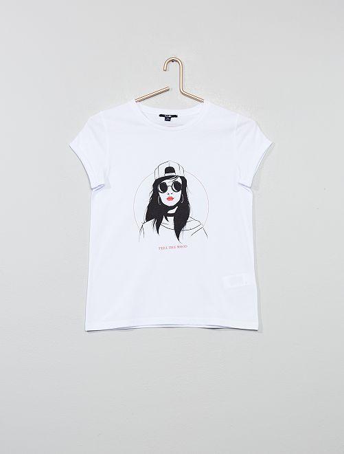 T-shirt imprimé 'fille'                                                                 blanc fille