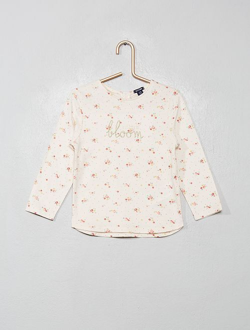 T-shirt imprimé fleuri                             beige