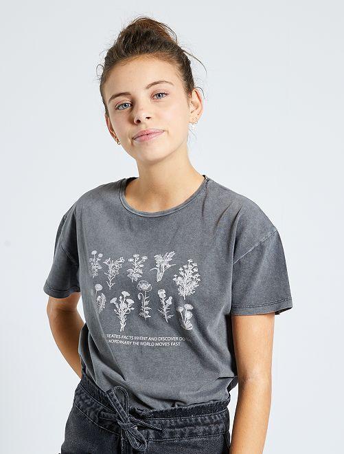 T-shirt imprimé 'fleurs'                             gris