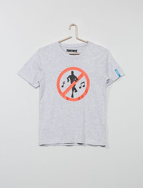 T-shirt imprimé 'Fortnite'                             gris chiné