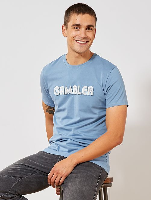 T-shirt imprimé 'Gambler'                                                     bleu