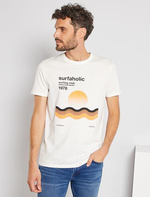T-shirt imprimé graphique                                                                 blanc cassé/radical