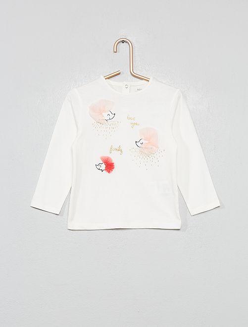 T-shirt imprimé hérissons 'éco-conception'                                                     écru
