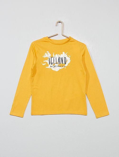 T-shirt imprimé 'Iceland' en coton bio                                                                                                                                         jaune Garçon