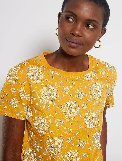 T-shirt imprimé                                                                                                                                                                                                     jaune fleurs