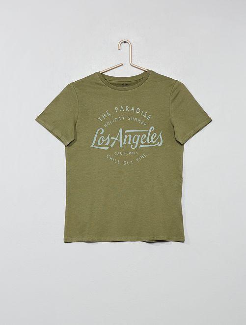 T-shirt imprimé                                                                                                                                                                 kaki Garçon adolescent
