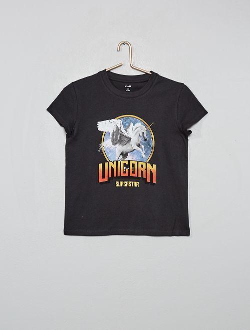 T-shirt imprimé 'licorne'                                                                                         anthracite