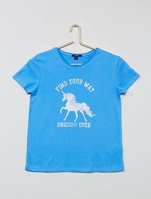T-shirt imprimé paillette                                                         bleu