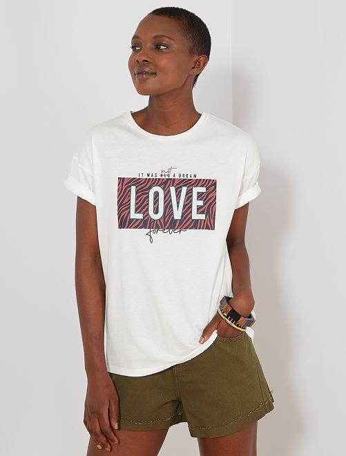 T-shirt imprimé 'love'                                                                             écru/love Femme