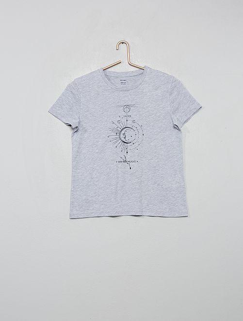 T-shirt imprimé 'lune'                                                                                                                 gris chiné