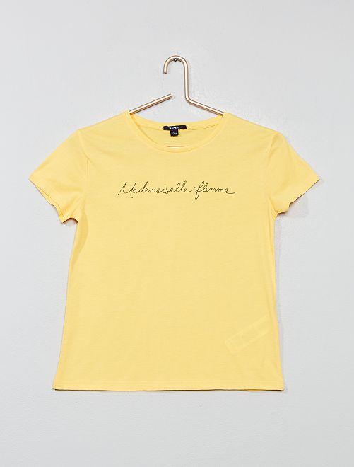 T-shirt imprimé 'Mademoiselle flemme'                                                                 jaune
