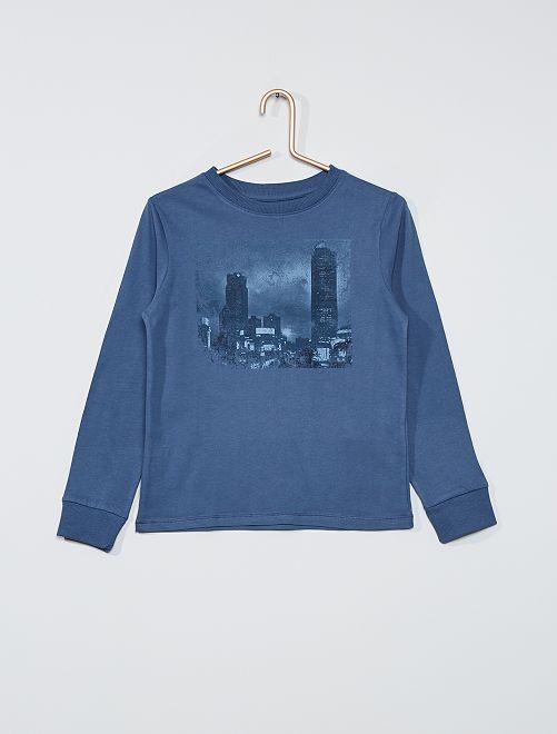 T-shirt imprimé manches longues                                                     bleu