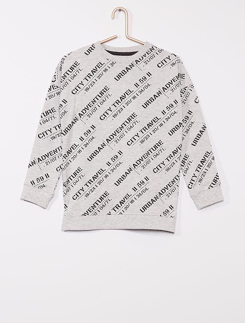 T-shirt imprimé manches longues                                                     GRIS