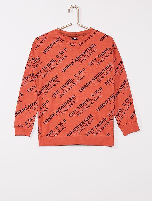 T-shirt imprimé manches longues                                                     MARRON