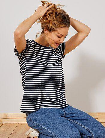 5af8b5d02ec T-shirt imprimé marinière - Kiabi