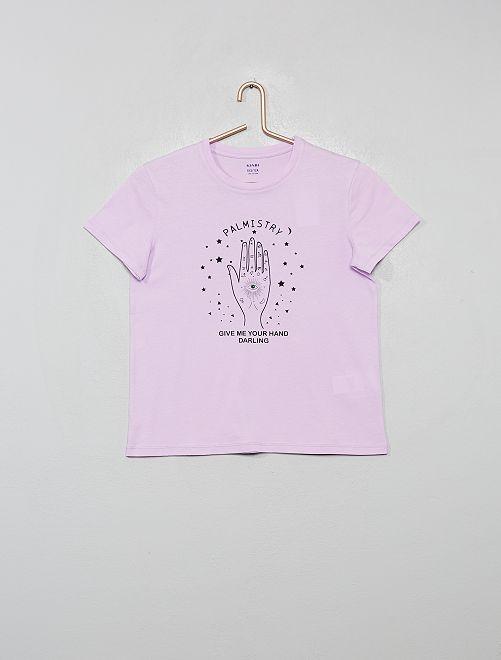 T-shirt imprimé                                                                                                                                                                             mauve/main