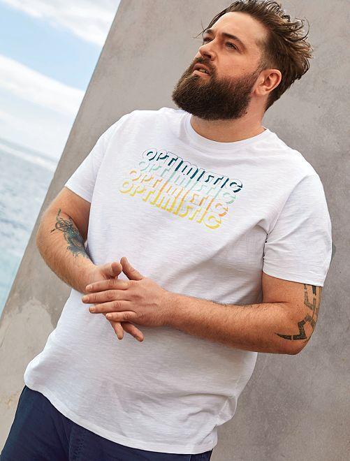 T-shirt imprimé message                             blanc Grande taille homme