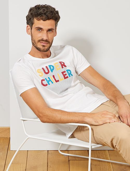 T-shirt imprimé message                             blanc