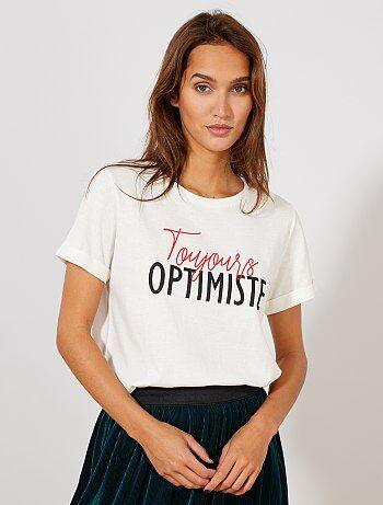 67be6a4339ec1 Soldes t-shirt imprimé femme, teeshirts graphiques à message pas ...