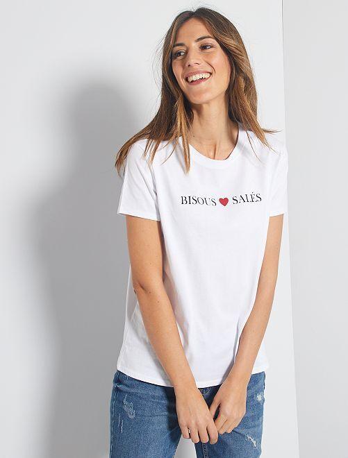 T-shirt imprimé 'message'                                                                                                                                                                                                                                                     blanc/message