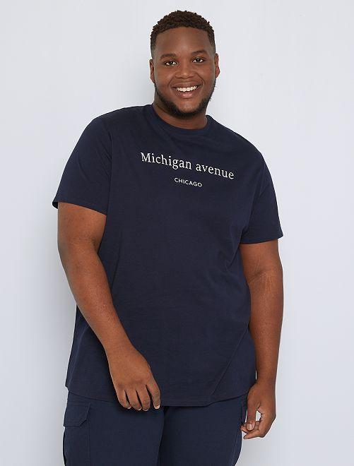 T-shirt imprimé message                                         bleu marine