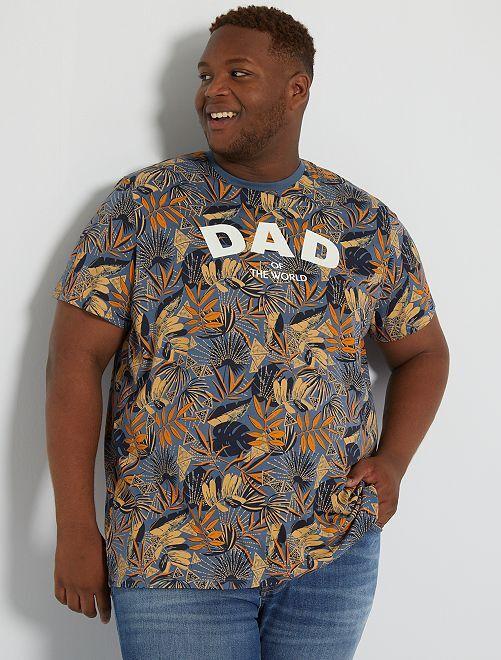 T-shirt imprimé message                                         bleu/orange/beige
