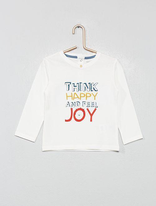 T-shirt imprimé message 'bonheur'                                                     blanc