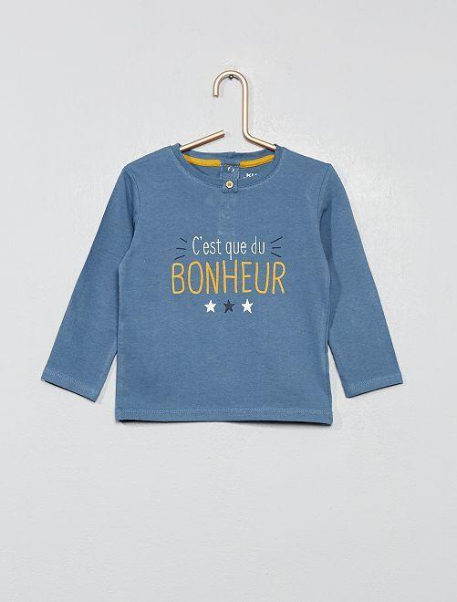 T-shirt imprimé message 'bonheur'                     bleu