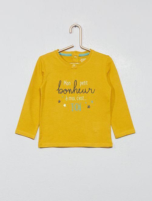 T-shirt imprimé message 'bonheur'                                                                 moutarde