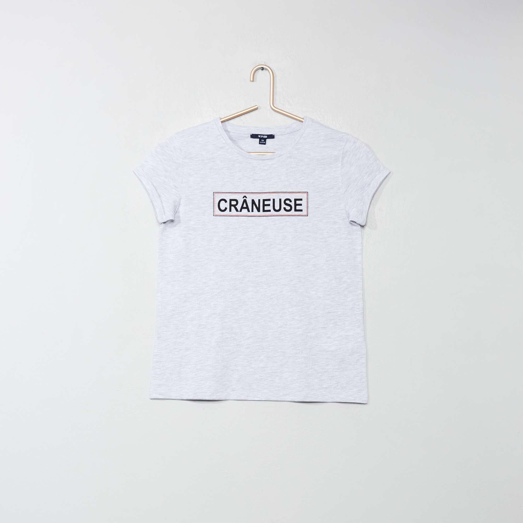 f7ac28de8e759 T-shirt imprimé message Fille adolescente - gris chiné - Kiabi - 3