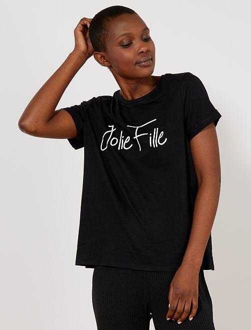 T-shirt imprimé message                                                                                                                                                                                                                                                                                                                                                                 noir Femme