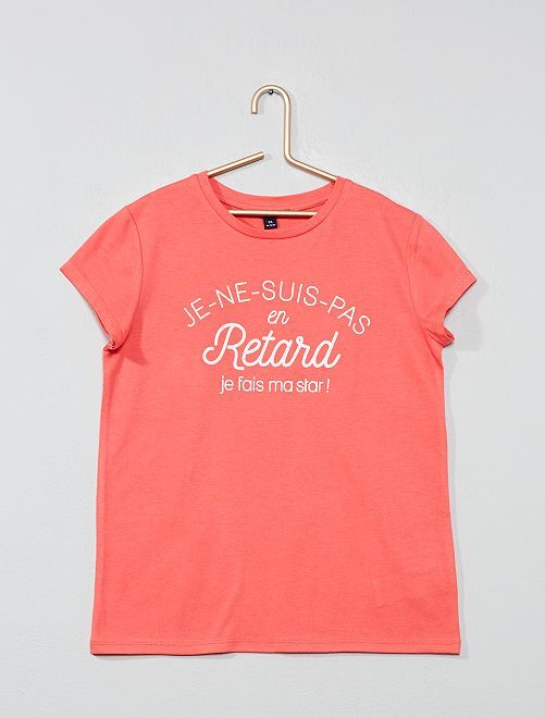 T-shirt imprimé message                                                                                                                                                     rose retard Fille adolescente