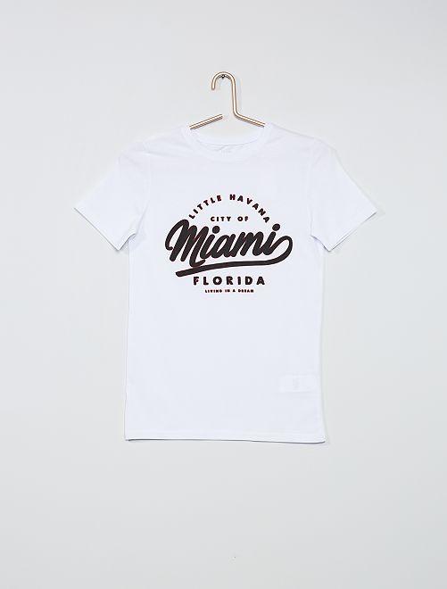 T-shirt imprimé 'Miami' en relief                     blanc