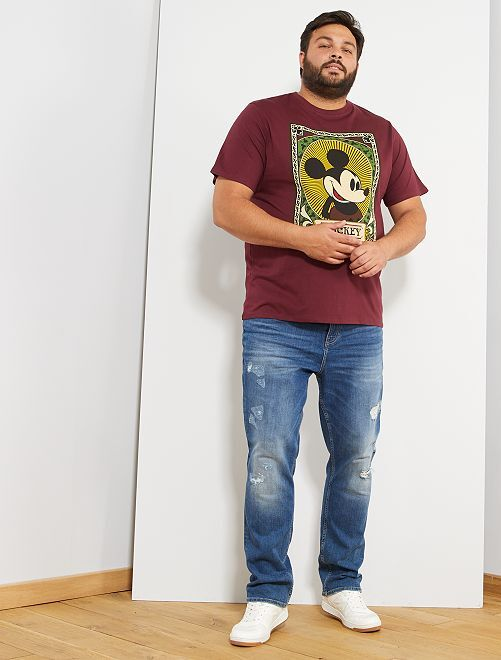 T-shirt imprimé 'Mickey Mouse'                             bordeaux Grande taille homme