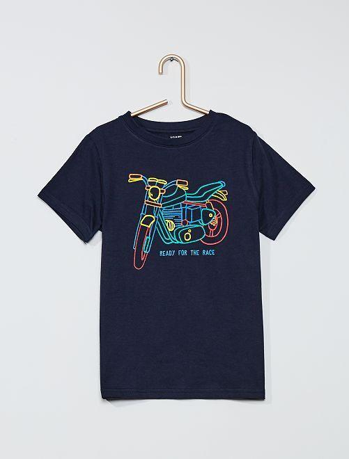 T-shirt imprimé 'moto' 'éco-conception'                                                                                                                                                     BLEU