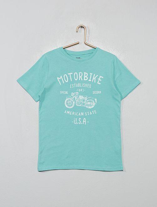 T-shirt imprimé 'moto'                                                                                                                                                                 vert d'eau